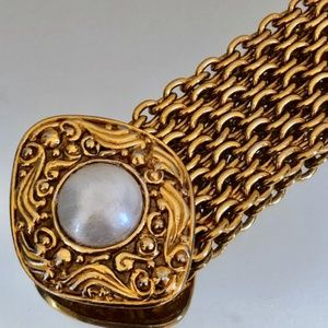 CHANEL Jewelry - CHANEL Vintage Pearl Byzantine Chain Bracelet